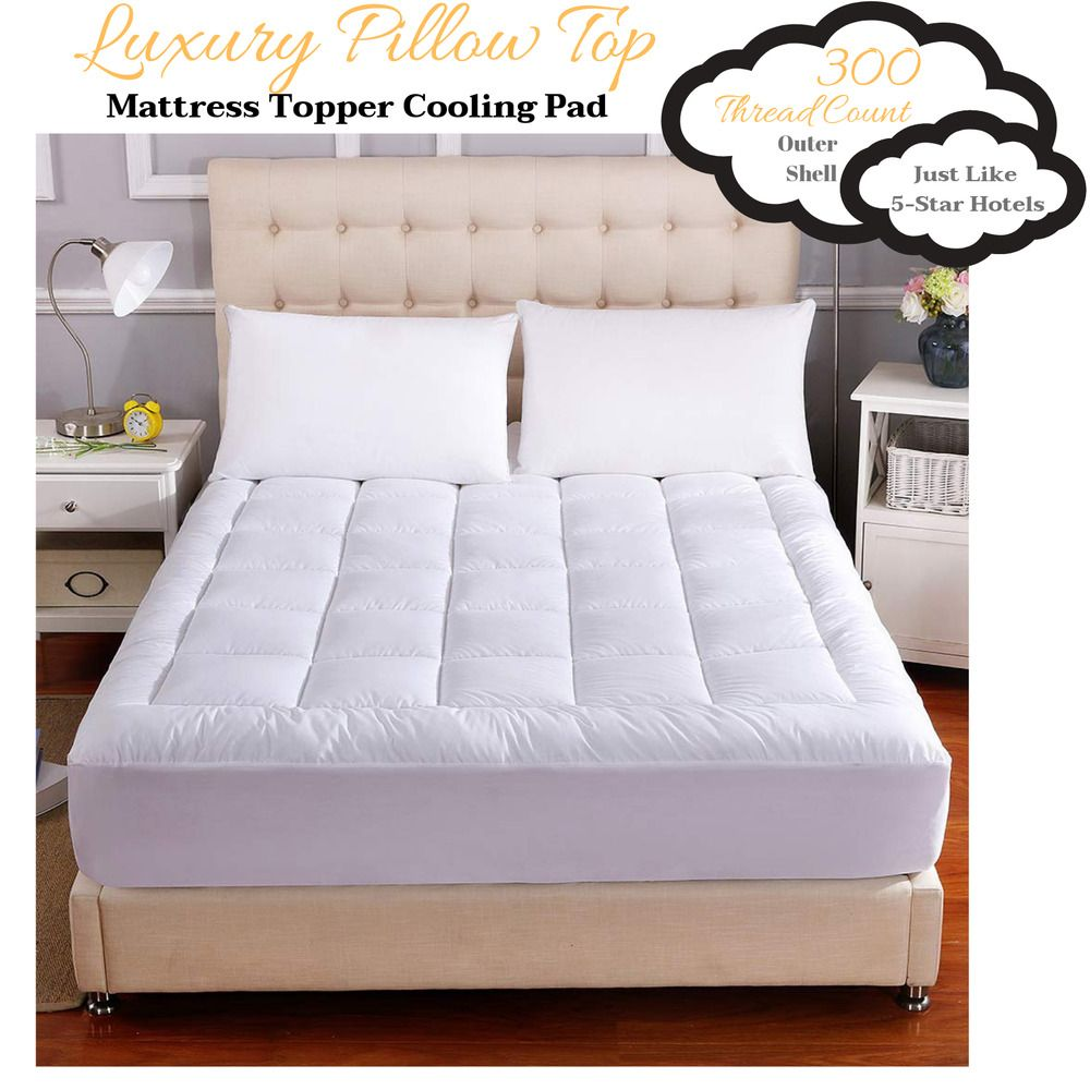 Queen Size Bed Luxury Thick Plush Pillow Top Cool Mattress Topper