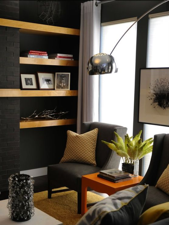 Charcoal gray walls paint color charcoal gray wingback for Yellow gray paint colors