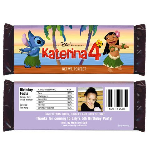 Disney/'s Lilo /& Stitch Birthday Party Favors//Candy Wrappers