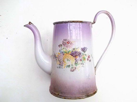 Vintage French Enamelware Coffee Pot Flowers Vase Planter Etsy Vintage Enamelware Enamelware French Vintage