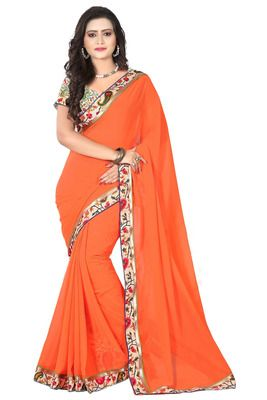 Orange colored Faux georgette printed lace border saree with Unstiched Blouse. Sarees on Shimply.com