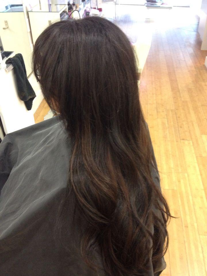 Long Dark Arab Hair With A Few Bayalage Caramel Highlights Gorgeous