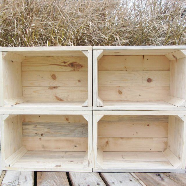 Small Wood Crate Stackable Made From Reclaimed Wood Pallets Set Of 4 Crate Set Wood Crates Wood Pallets Crates
