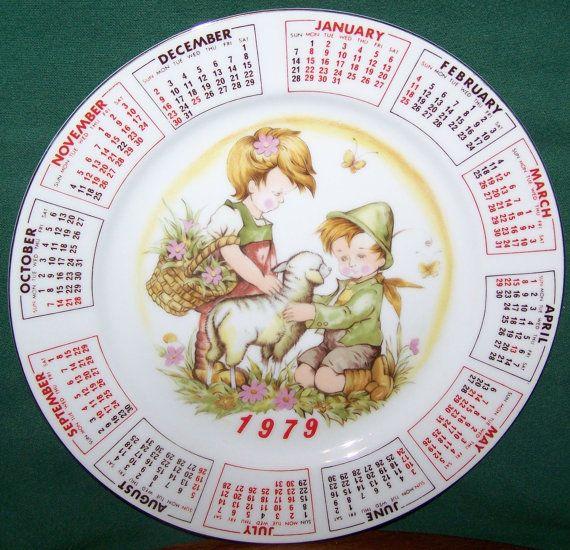 1979 Calendar Plate Alpine Children By Moonbearconnections