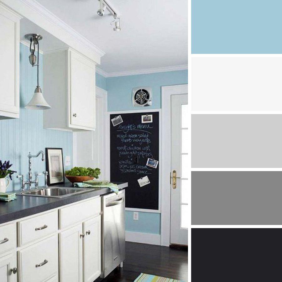 Cocina celeste decoraci n de casa en 2019 colores for Colores paredes cocinas modernas
