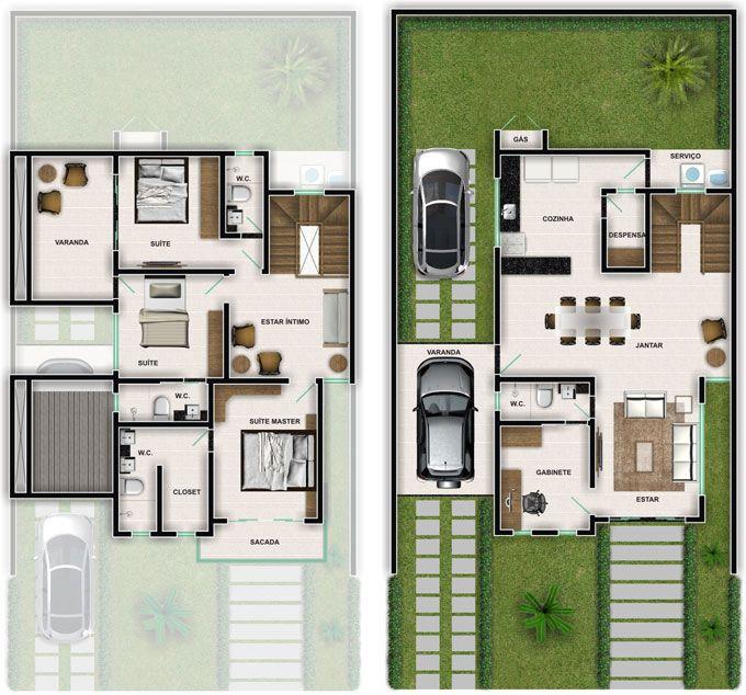 Plantas de casas duplex simples e pequenas casa for Casa moderna 2 andares 3 quartos