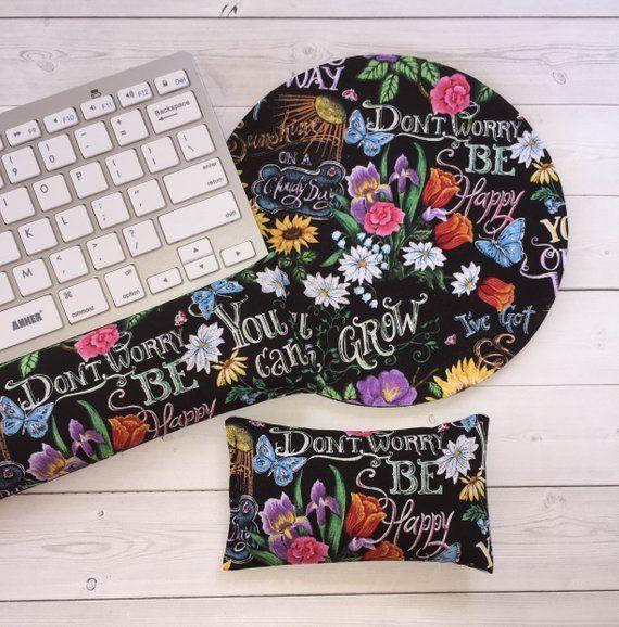 floral mouse pad wrist rest keyboard rest set flowers coworker