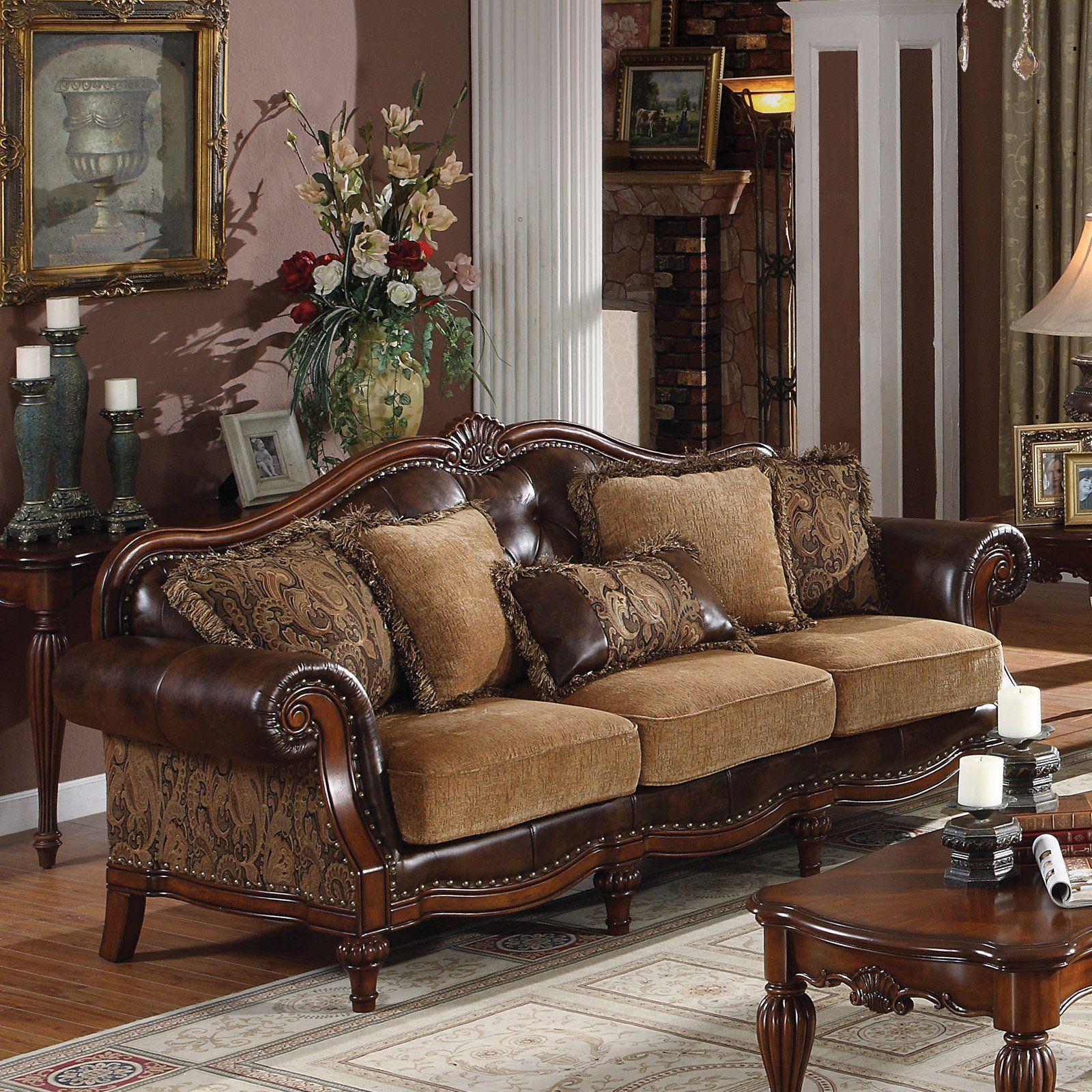 Acme Furniture Dreena Sofa With 5 Pillows Luxury Sofa