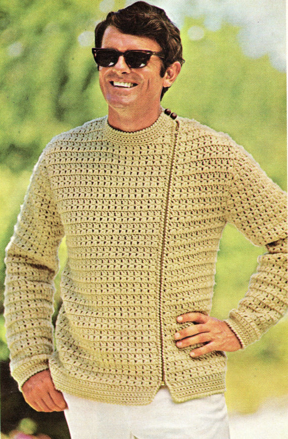 Mens Zip Up Jacket Crochet Pattern Sweater Jacket Crochet Pattern