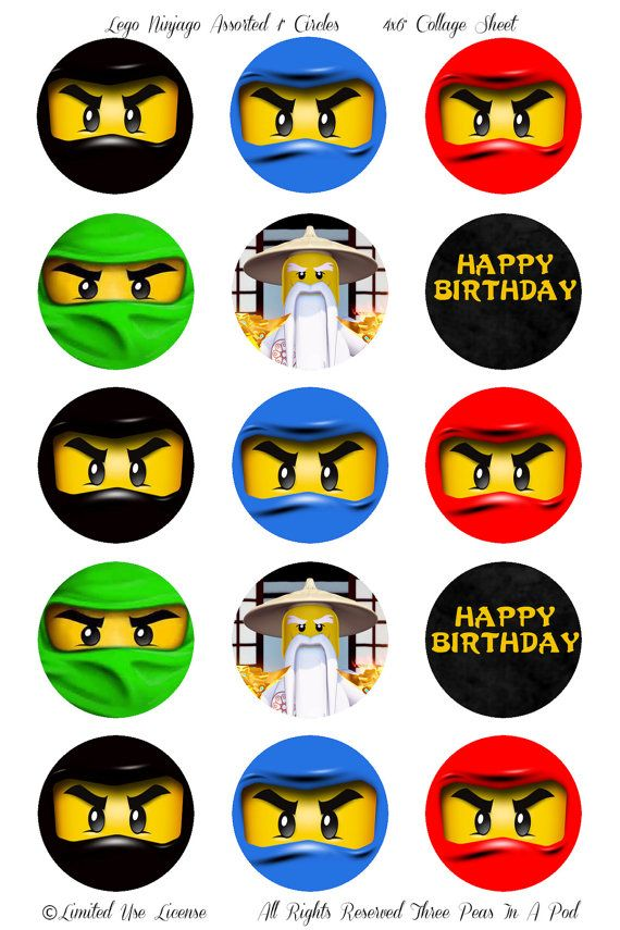 Instant Download Lego Ninjago Assorted Ninjas Printable 1 Inch Cupcake Toppers 200 Via Etsy