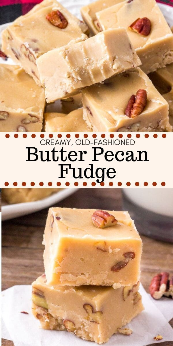 Pecan Fudge This butter pecan fudge is extra creamy with a deliciously sweet, buttery flavor. Toasted pecans give it a nutty flavor and add tons of texture. It only takes 20 minutes to make, and it makes a great gift too!This butter pecan fudge is extra creamy with a deliciously sweet, buttery flavor. Toasted pecans give it a nutt...