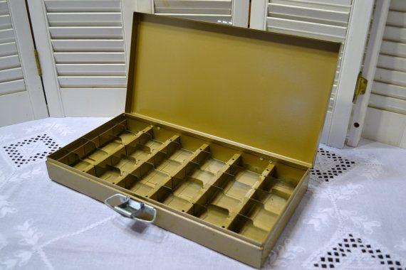Vintage Kenco Metal Box Slide Storage Tan Beige Industrial Decor  PanchosPorch | Metal Box, Beige And Storage