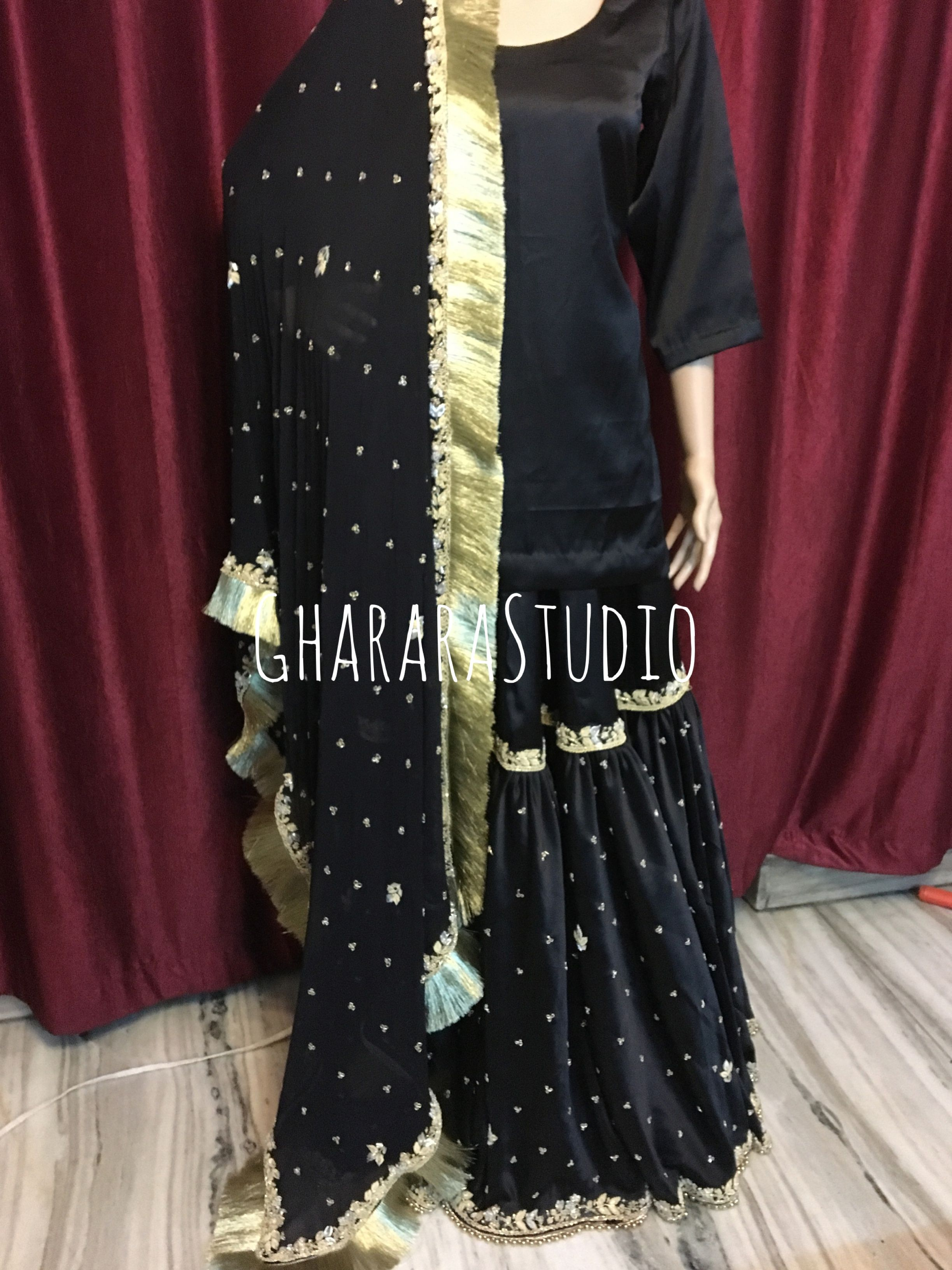 221597bf67 Black beauty.. Satin Gharara with zardozi handwork embroidery all over.  Available in all