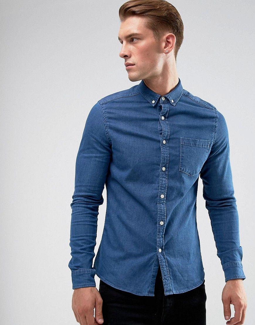 e1493942ea1 ASOS Stretch Slim Denim Shirt In Mid Wash - Blue