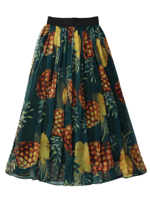 Pineapple Print Midi Skirt