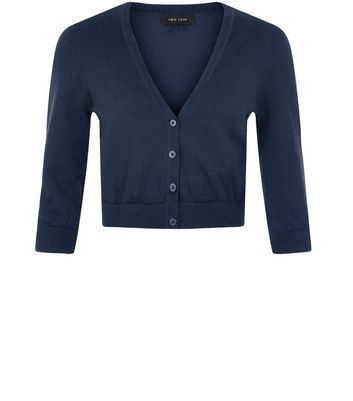 Black Cropped Cardigan | Navy, Shops and Womens knitwear
