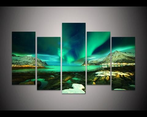 Aurora Borealis Night Sky 5 Panel Painting 3rd Var Prints Printable Painting Canvas Empireprints Teepea Lighted Canvas Art Northern Lights Canvas Art