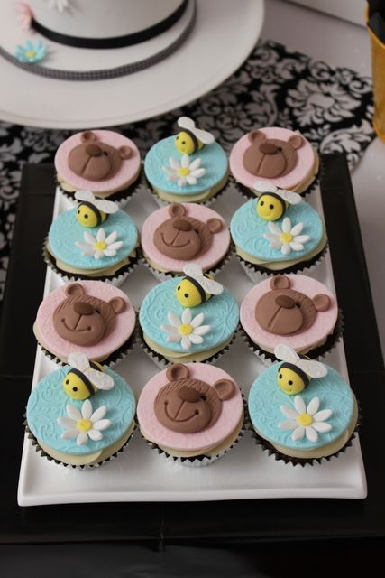 Cup Cakes Teddy Bear And Bumble Bee Cupcakes Babyshower