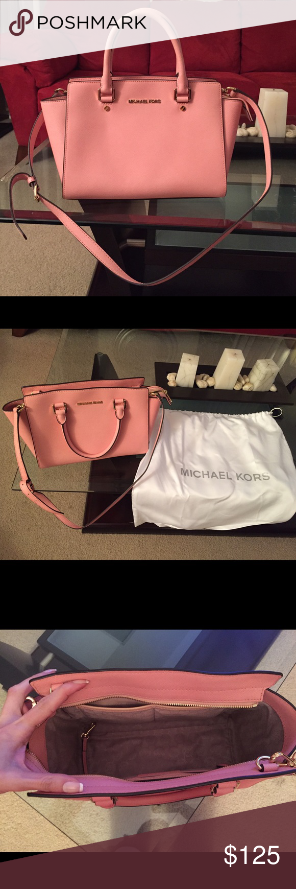 Michael Kors SELMA SAFFIANO LEATHER MEDIUM SATCHEL This bag is in excellent  condition 520360c5d65a9