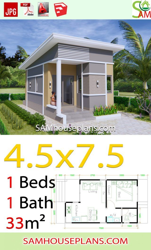 Small House Plans 4 5x7 5 With One Bedroom Shed Roof Sam House Plans Small House Design Plans Small House Design Philippines Modern Small House Design