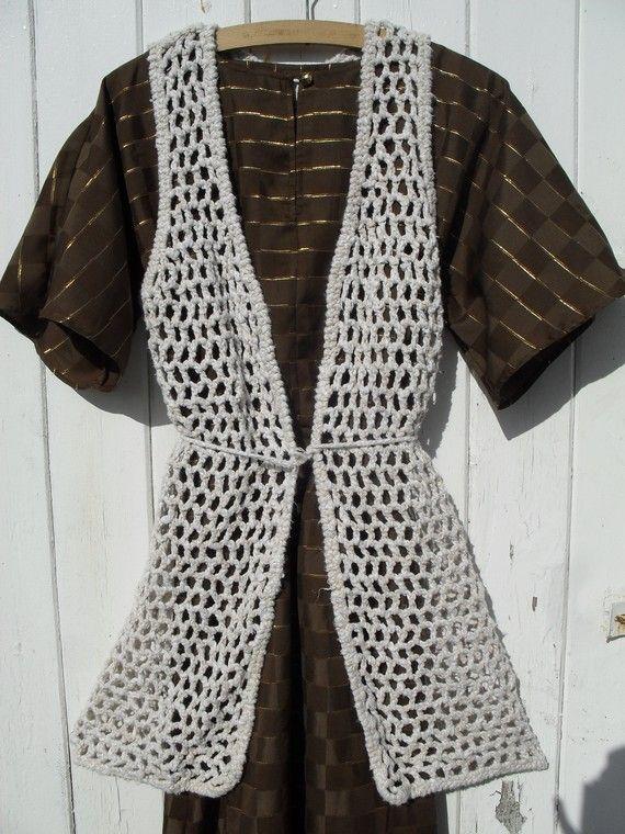 Vintage 60s 70s Crochet Hippie Vest Jacket My Style Pinterest