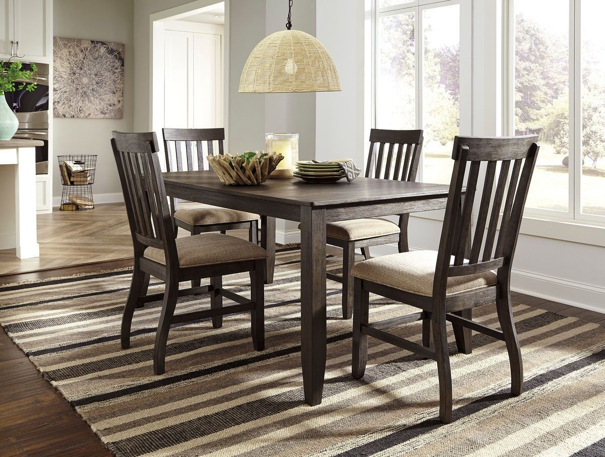Dresbar Grayish Brown 5 Pc Rect Drm Table 4 Uph Side Chairs Rectangular Dining Room Table Rectangular Dining Table Side Chairs