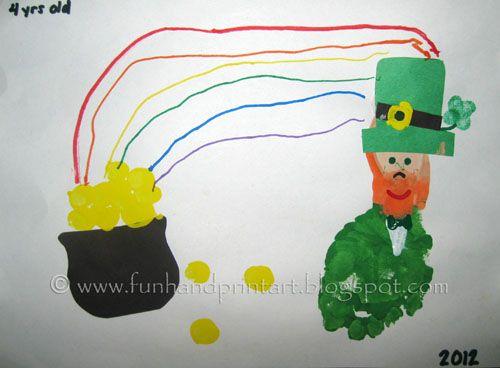 Footprint Leprechaun Fingerprint Gold Coins St Patricks Day Craft