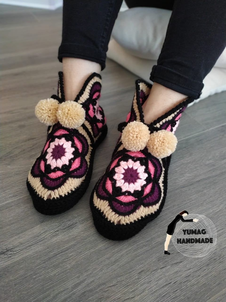 Handmade Slippers, Floral Indoor Boots, Acrylic Wa