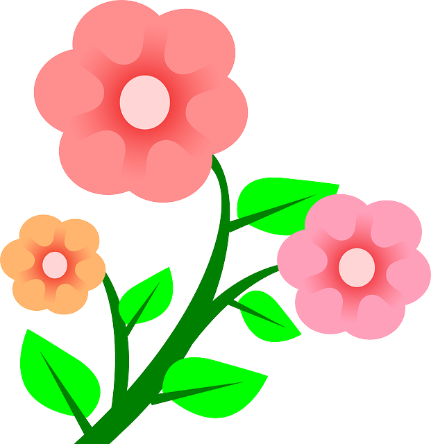 Three Plants Flower Flowers Cartoon Border Pink