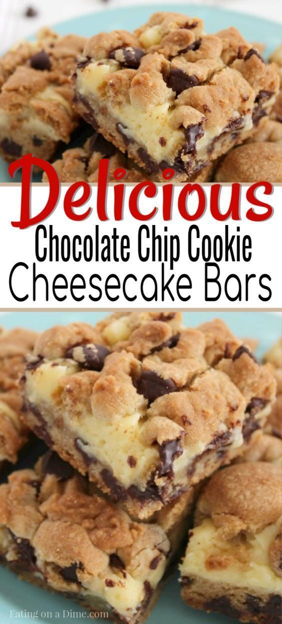 Chocolate Chip Cookie Cheesecake Bars - Einfache Dessert-Idee #enklaefterrätter