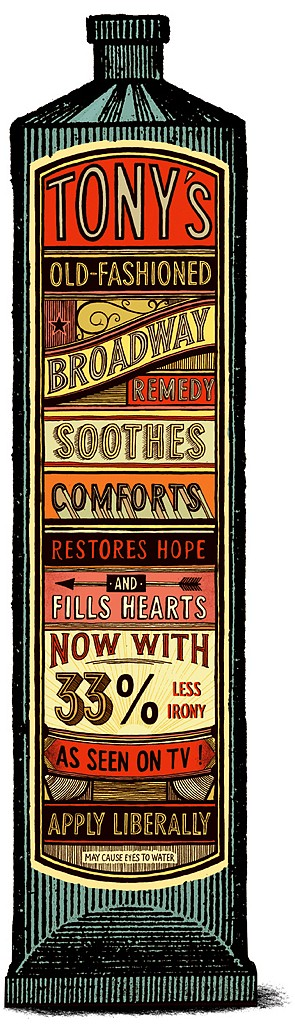"Clever take on the snake oil products of days gone by . . .  note the ""As Seen On TV"" label near the bottom :-) (King George, Tumblr)"