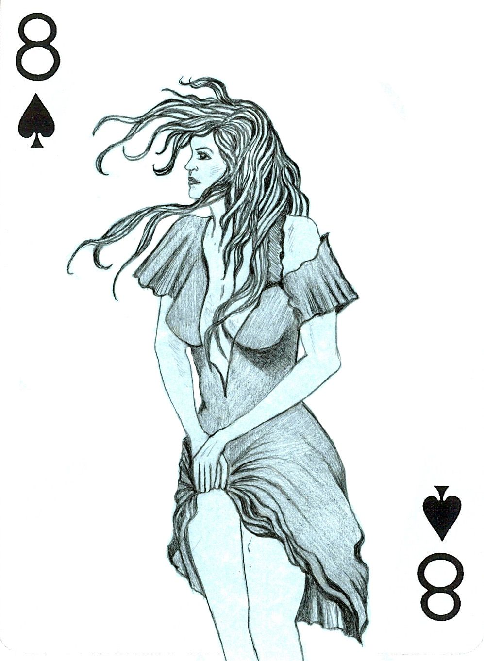 Art by lourdes slazyk pencil my deck of cards 8 of spades