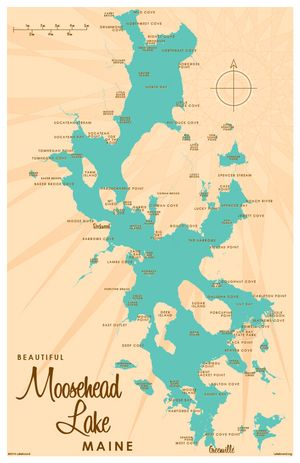 Moosehead Lake, ME Map 11x17 Print. Professional-grade digital print on
