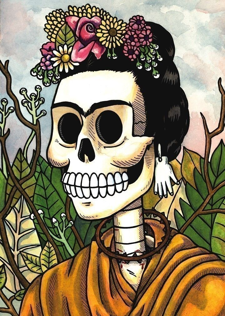 I have this on my wall.   --------------------------------------------------    Frida Calavera with Flowers Print 8 x 10. via Etsy.