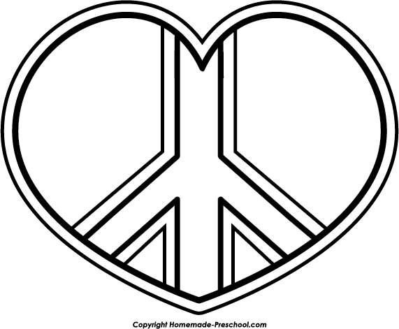 Peace Sign Heart Bw Png 571 471 Heart Coloring Pages Coloring Pages For Teenagers Coloring Pages