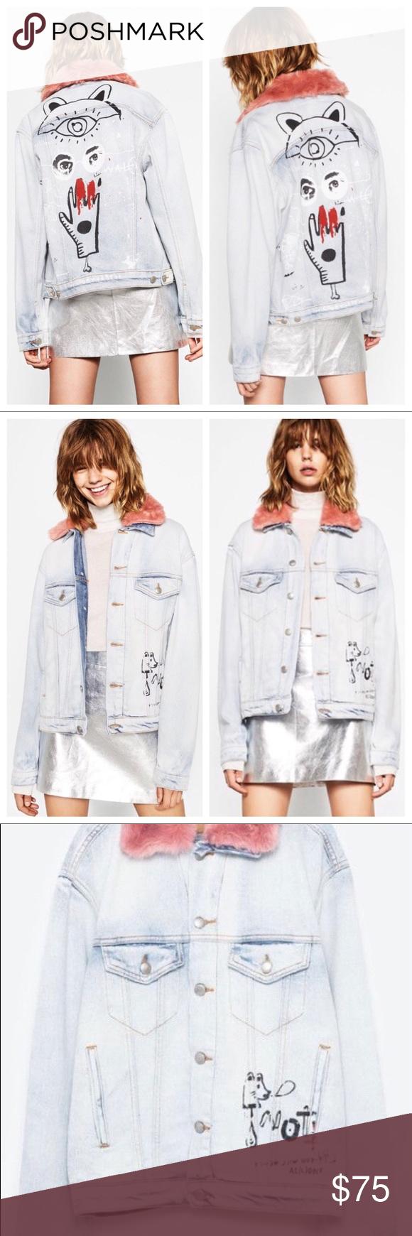 Zara Denim Jacket With Removable Pink Fur Collar Zara Denim Jacket Denim Jacket Pink Faux Fur [ 1740 x 580 Pixel ]