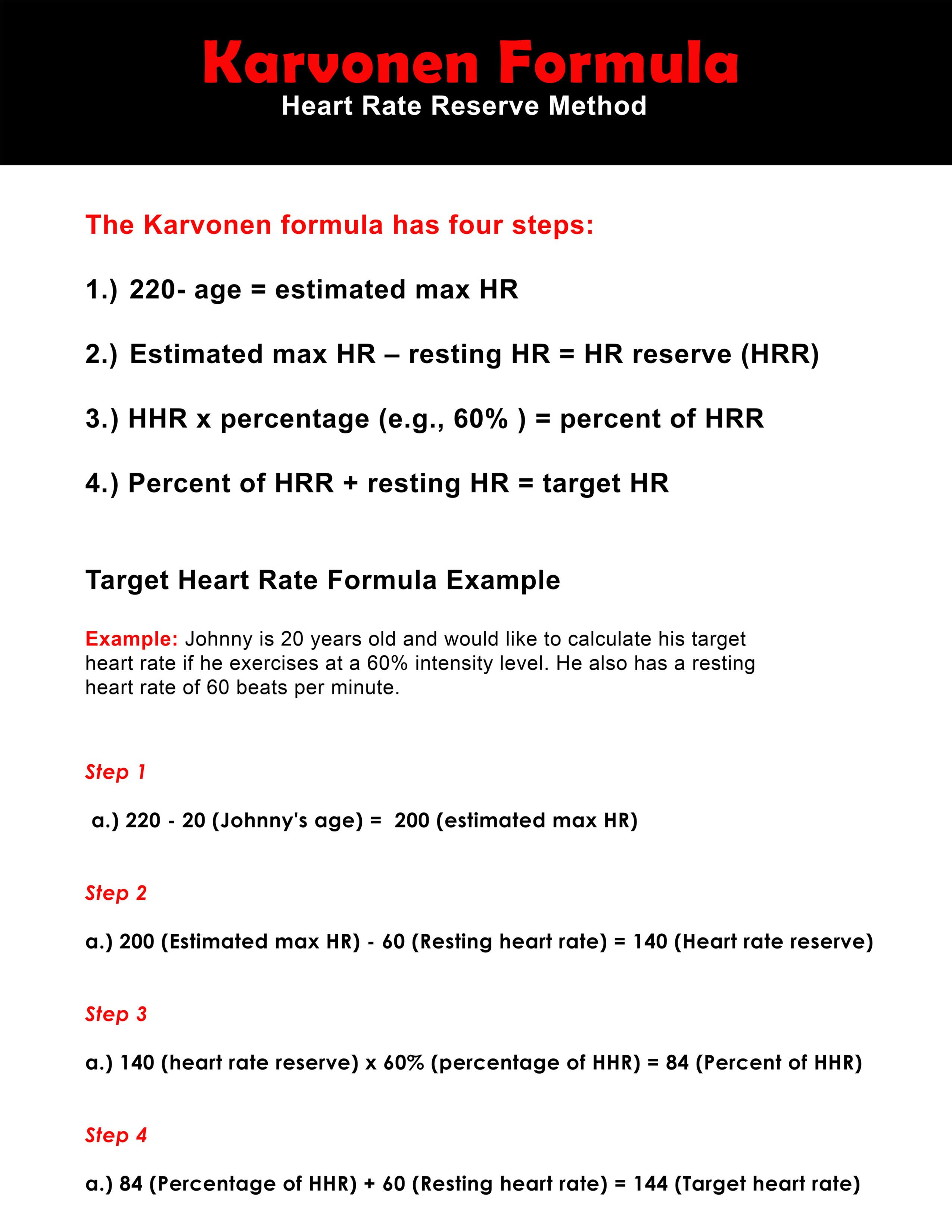 Karvonen Formula Chart That You Can Download And Print It