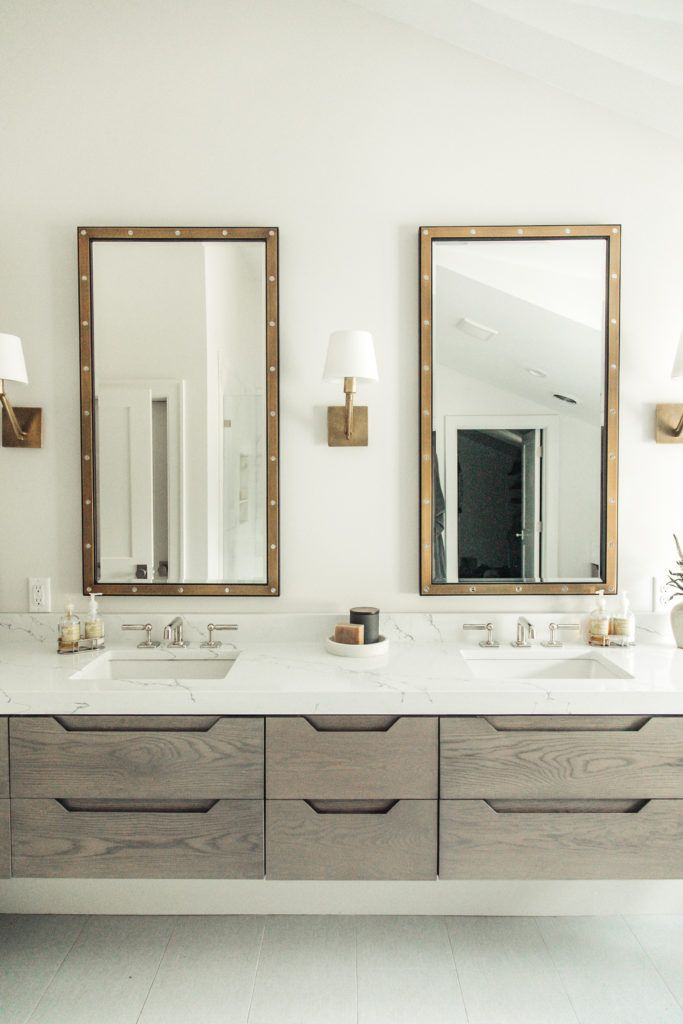 A Stunning Salt Lake City Home Tour Classicmodernremodel Refined Master Bathroom With Floating Modern Master Bathroom Vanity Master Bathroom Bathroom Vanity