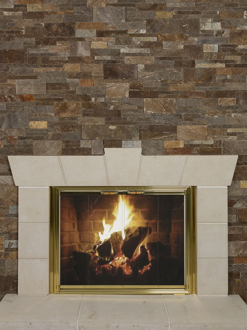 Extravagant fireplace steals the show stone fireplace for the spacious - Walnut Tailored Ledgestone With Texas Cream Cut Stone Surround Hearthstones