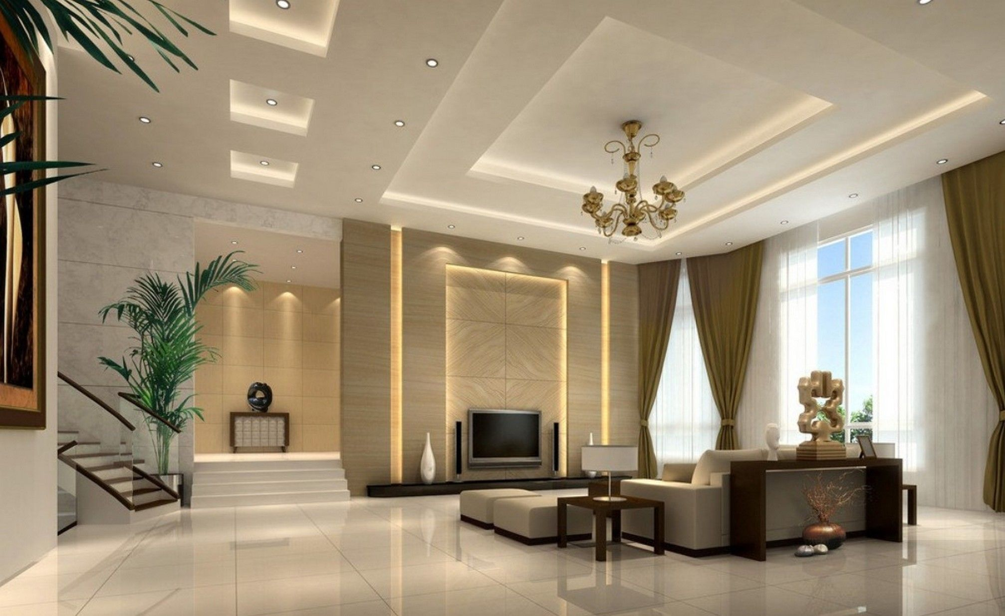 decorative gypsum board ceiling for living room with recessed rh pinterest com
