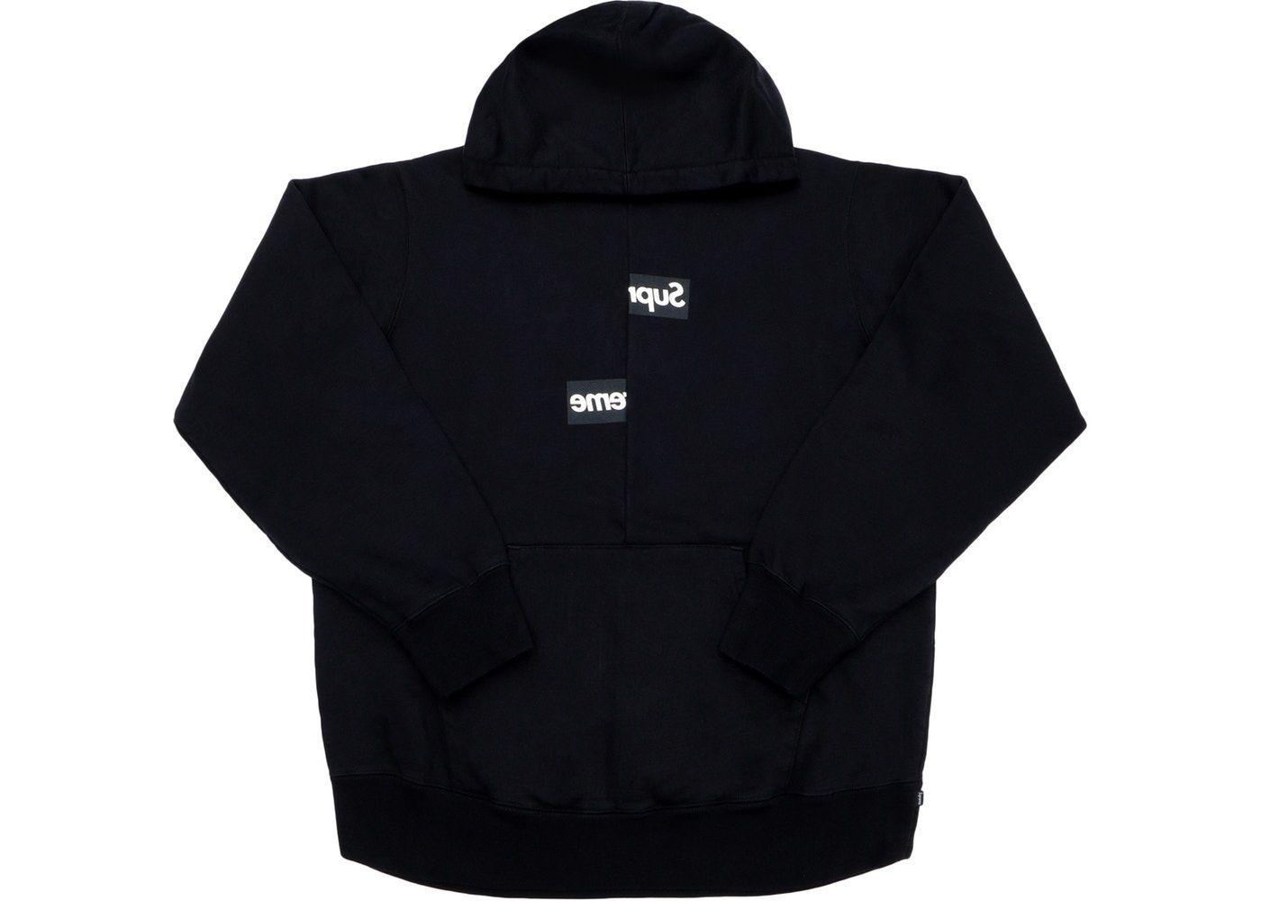 Check Out The Supreme Comme Des Garcons Shirt Split Box Logo Hooded Sweatshirt Black Available On Black Sweatshirts Hooded Sweatshirts Comme Des Garcons Shirt [ 1000 x 1400 Pixel ]