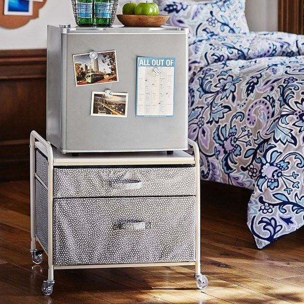 Mini Fridge Storage Cart #17 - 37 Ingenious Ways To Make Your Dorm Room Feel Like Home. Mini Fridge ...