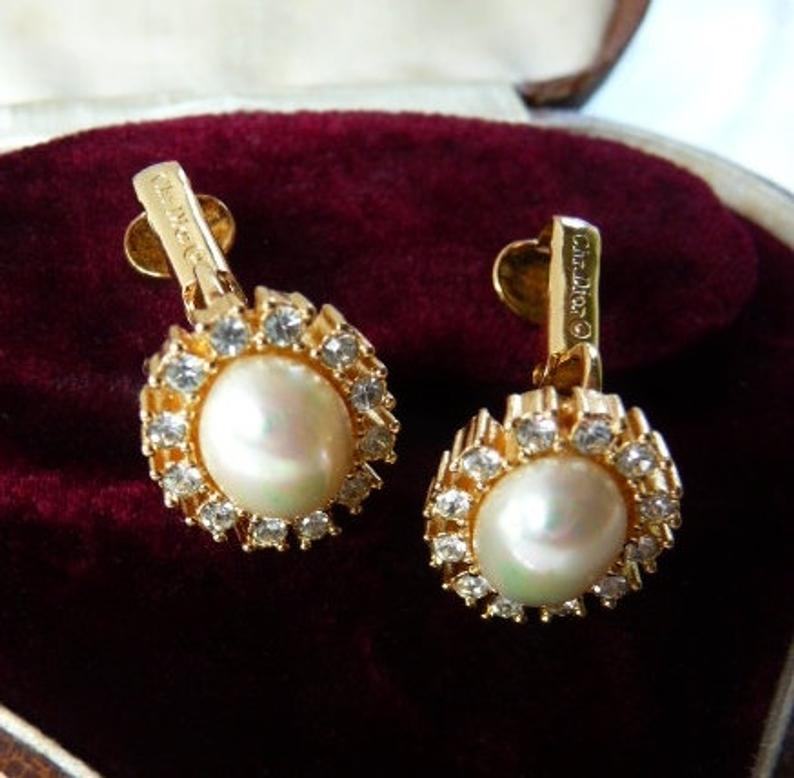 Vintage Christian Dior clip on mabe pearl earrings faux
