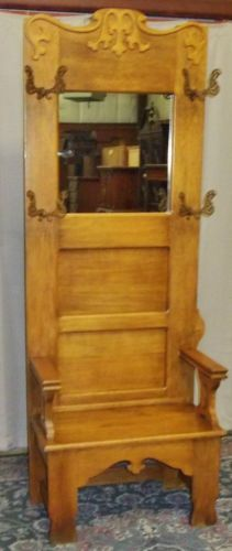 ANTIQUE Oak Hall Tree/ Stand With Mirror, Carving, Antique Brass Hooks
