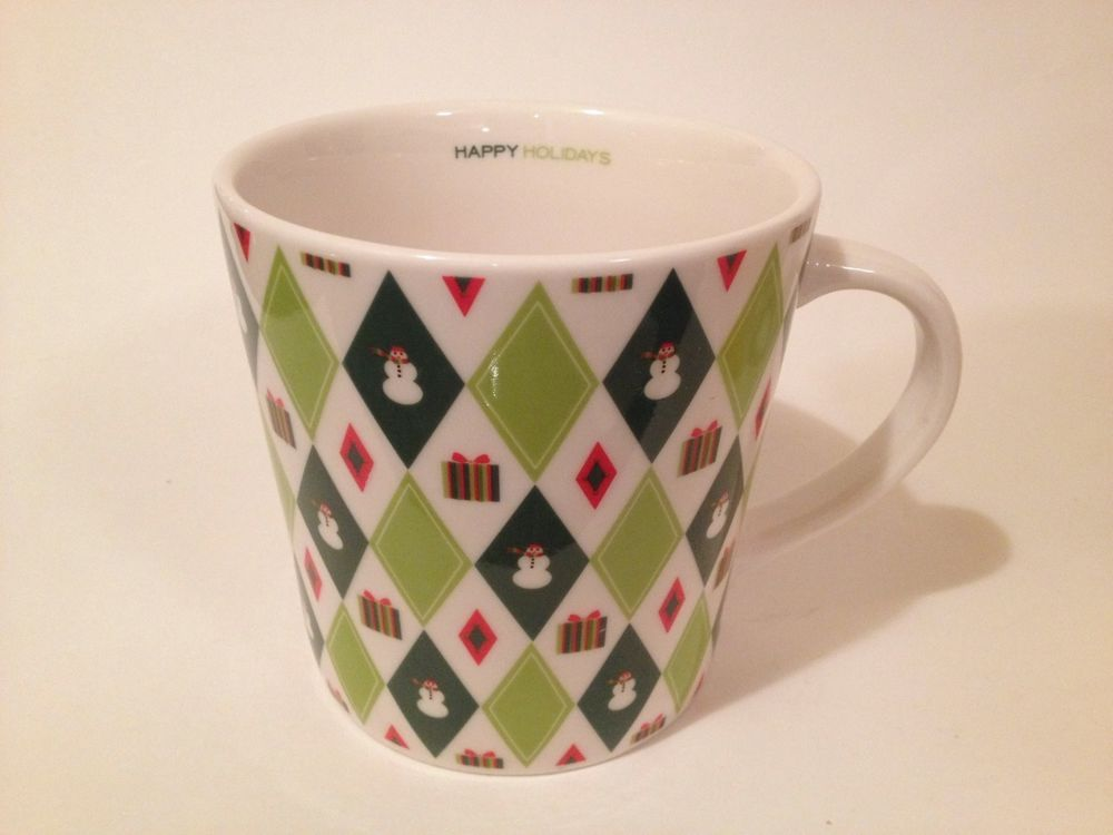 Starbucks Happy Holidays 2003 Mug Christmas Gift Snowman Harlequin Diamond Green