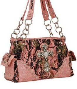 NEW! Pink Camouflage Print Cross Shoulder Bag with Rhinestones - Super Cute!