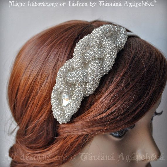 Bridal Headband Silver Ivory  Couture Silver beads by TianaCHE, $160.00