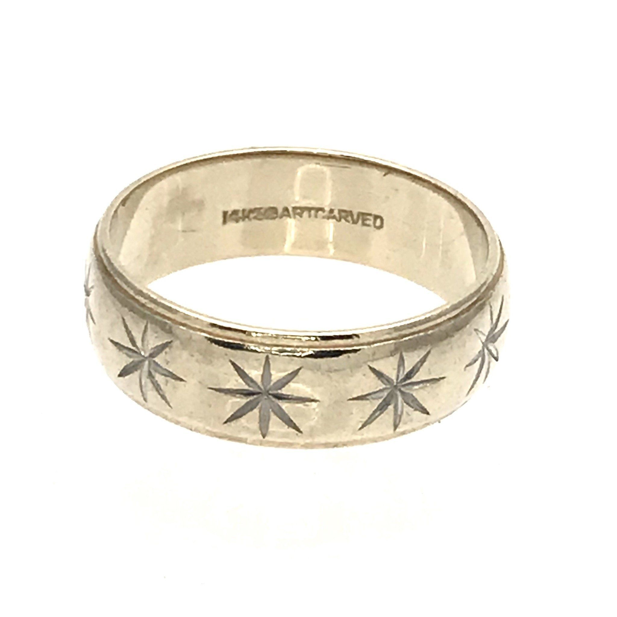 Mens 14k Gold Wedding Band Ring With Carved Starbursts 14k Gold Wedding Band Wedding Ring Bands Mens Wedding Bands