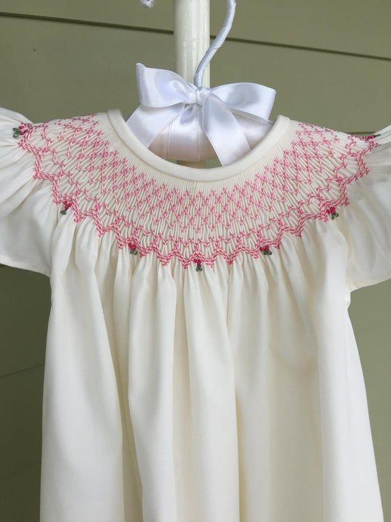 Ivory/Blue or Ivory/Pink Smocked Bishop Dress/Infant/Toddler/Girls