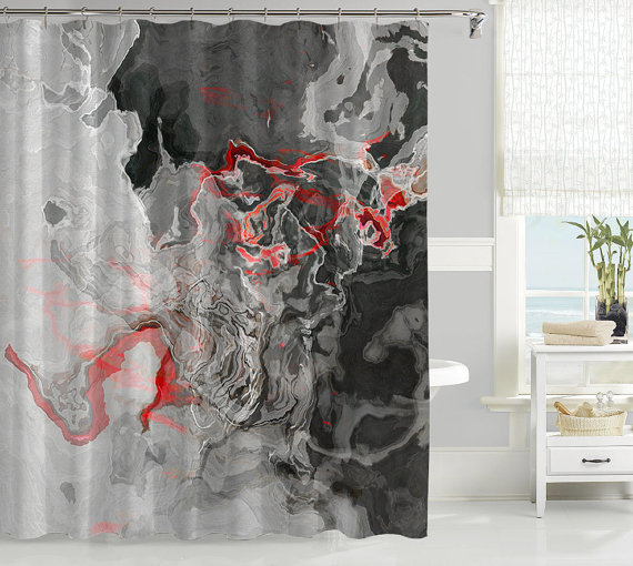 "Create a unique bathroom decor with a shower curtains featuring my original abstract art. My shower curtains are individually printed with my abstract art using the most advanced digital printing technology. - Design: ""Shadow Land"" - Material: 100% polyester - Main Colors: Charcoal, Gray, Red, White - Machine Washable - Size: 71x74 inches (180x188 cm)  Made from 100% polyester my original shower curtains have a 12 button-hole top for easy hanging. The curtains measure approximately 71x74…"
